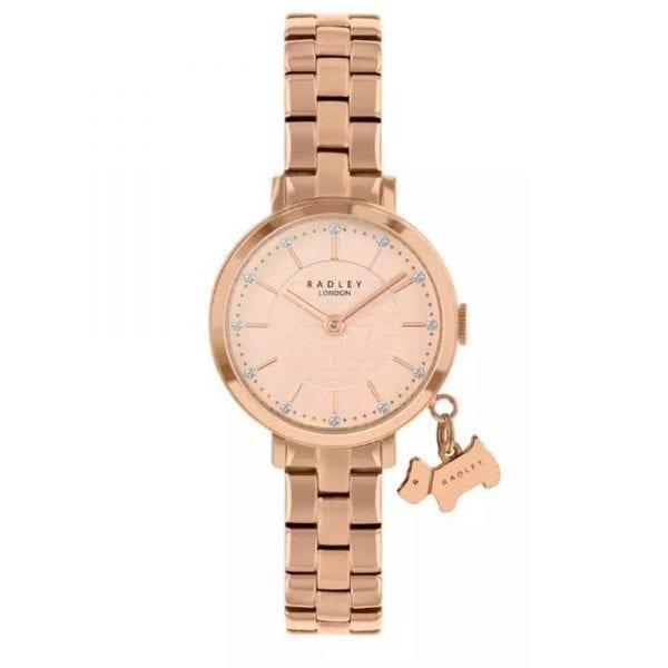 Radley Selby Street Quartz Rose Gold Stainless Steel Dog Charm Ladies Watch RY4398