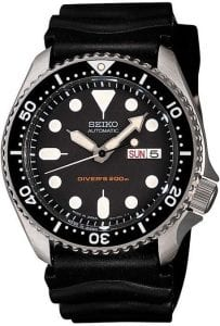 Seiko Japan Model Diver's Automatic 200m Silver Stainless Steel Black Rubber Strap Men's WatchThis Seiko Japan Model Diver's Automatic 200m Silver Stainless Steel Black Rubber Strap Men's Watch is a classic piece of aquatic wrist-wear, with its stunning range of diving-specific features being offered at unparalleled level of value and construction quality. Beginning at the centre, a sleek black dial host a Seiko logo at the 12 o'clock position with a day and date window replacing the 3 o'clock position. To aid the thrill seekers amongst us, the hands and indexes are coated in luminescent so that you can see at the dark depths of the ocean and sea. A black bezel sits on a stainless steel case with the dial being further protected by hardlex crystal glass. To continue the sleek black theme, a black rubber strap sits fittingly around ones wrist, fastened by a buckle clasp.This timepiece has a water resistance of 200 metres, meaning it can be used for recreational scuba diving.Made In Japan:Firstly, for all you Seiko enthusiasts, this premium timepiece has been made and produced in Japan, indicated by the suffix 'J'. Seiko watches made in Japan are notoriously hard to obtain outside of Japan due to the highest quality of craftsmanship and astonishing features that come in each individual timepiece. We have a range of Japanese watches here at Watchnation but in limited quantities, so if you are looking to add to your collection then this is the perfect place for you.Seiko's famous divers range is due to bediscontinued soon making models like this one to be collectors models.The SKX soon built up a reputation for being the ultimate 'beater' watch and the line became increasingly diverse. Take for example the Scuba Master, which is the first computerised diver's watch, which was released in 1990. However, the most definitive model of the range is the SKX007. It is known to be the cheapest and most reliable diver's watch on the market. Seiko have since added models such as 