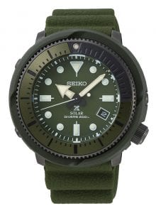 Seiko Street Series Prospex Solar Tuna 1975 Re-Creation Olive Green Mens Watch SNE535P1 46.2mmThis Seiko Street Series Prospex Solar Olive Tuna 1975 Re-Creation Mens Watch SNE537P1 46.2mm is a contemporary take on Seiko's 1975 dive watch. The 1975 watch, truely was ahead of its time, being the worlds first divers watch with a titanium case. This feat was achieved through a world-class corrosion proof, shock resistant airtight case. Furthermore, the timepiece was nicknamed as the 'tuna' due to a ridged casing resembling that of a tuna can.As part of the new street series, it is recognised by its olive circular stainless steel and plastic case to go with a olive silicone strap. In terms of the olive khaki dial, the ever present Seiko logo can be found just below the 12 o'clock index. Replacing the 4 o'clock index is a simplistic date display window. Sat just above the 6 o'clock index is the 'X' logo, showing that this timepiece is part of the Prospex family. Labelled just below this logo is the labelled movement of solar. Solar movement works by converting solar energy from all types of light sources into electrical energy to drive the watch. The watch also takes advantage of a power reserve to keep the timepiece ticking during the night or tucked under a sleeve. This reliable V157 automatic movement has a solid operating duration of approximately 10 months when fully charged. Both the hands and indexes are coated with LumiBrite, to provide easy visibility in dark situations. This sleek and simplistic dial is protected by the robust hardlex crystal glass. This watch has a labelled water resistancy of 200 metres or 20 ATM. The durability of this watch extends to scuba and deep-diving, fishing, desert hiking and mountain climbing!Key Features:Olive Khaki Coloured Stainless Steel & Plastic CaseHardlex Crystal GlassOlive Coloured Silicone StrapCaliber: V157Solar MovementDuration Operating For Approximately 10 Months+-15 seconds per monthLumibrite on Hands & Indexes200m Water ResistantDate DisplayOvercharge PreventionQuick-StartScrew Case BackScrew-Down CrownUnidirectional Rotating BezelTuna Case1975 Re-CreationThe Series: StreetThe street series is considered as the stylish urban version of a standard watch. The range consists of three different colours; grey, navy blue & grey. Seiko's marketing team have coined this series as the 'urban adventurer', a classic Seiko case with some trendy colours compared to the standard black and white colour schemes of past. The Family: ProspexThe Seiko Prospex family uses Seiko's innovative ethos to combat the watchmaker's greatest challenge, adventure sports. Whether at sea, on land or in the sky, this collection of timepieces will deliver trademark Seiko precision and reliability in even the most adverse of weather conditions. The Brand: SeikoSeiko's 135-year history has been marked by a ceaseless determination to innovate in every aspect of the watchmaker's art. By embracing this mantra, Seiko has been responsible for a string of industry-leading advances in the technology of time, such as the world's first quartz watch, the world's first TV watch, and the Seiko Kinetic, the first watch ever to generate its own electricity from the movement of the wearer. Seiko are unique in that they manufacture every aspect of every watch in-house, with this ruthless pursuit of perfection even including growing their own quartz crystals and sapphires.