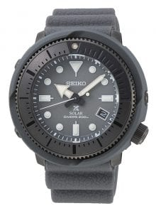 Seiko Street Series Prospex Solar Grey Tuna 1975 Re-Creation Mens Watch SNE537P1 46.2mmThis Seiko Street Series Prospex Solar Grey Tuna 1975 Re-Creation Mens Watch SNE537P1 46.2mm is a contemporary take on Seiko's 1975 dive watch. The 1975 watch, truely was ahead of its time, being the worlds first divers watch with a titanium case. This feat was achieved through a world-class corrosion proof, shock resistant airtight case. Furthermore, the timepiece was nicknamed as the 'tuna' due to a ridged casing resembling that of a tuna can.As part of the new street series, it is recognised by itsgrey circular stainless steel and plasticcase to go with a grey silicone strap. In terms of the grey dial, the ever present Seiko logo can be found just below the 12 o'clock index. Replacing the 4 o'clock index is a simplistic date display window. Sat just above the 6 o'clock index is the 'X' logo, showing that this timepiece is part of the Prospex family. Labelled just below this logo is the labelled movement of solar. Solar movement works by converting solar energy from all types of light sources into electrical energy to drive the watch. The watch also takes advantage of a power reserve to keep the timepiece ticking during the night or tucked under a sleeve. This reliable V157 automatic movement has a solid operating duration of approximately 10 months when fully charged. Both the hands and indexes are coated with LumiBrite, to provide easy visibility in dark situations. This sleek and simplistic dial is protected by the robust hardlex crystal glass.This watch has a labelled water resistancy of 200 metres or 20 ATM. The durability of this watch extends to scuba and deep-diving, fishing, desert hiking and mountain climbing!Key Features:Stainless Steel & Plastic CaseHardlex CrystalGrey Silicone StrapCaliber: V157Solar MovementDuration Operating for Approximately 10 Months+-15 seconds a monthLumibrite On Hands And Indexes200m Water ResistantDate DisplayOvercharge Prevention FunctionQu