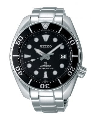 Seiko Prospex Black 'Sumo' Silver Stainless Steel Automatic Diver Men's Watch SPB101J1 45mmThis Seiko Prospex Black 'Sumo' Silver Stainless Steel Automatic Diver Men's Watch SPB101J1 45mm is a renewal of a much-loved Seiko diver's original. The bold design of the 2007 original has been modernized and the caliber upgraded to provide a longer duration power reserve of 70 hours. A black dial is complimented by silver and white indexes and hands which in turn are powered by a precise automatic 24 jewel 6R35 movement. Both the indexes and hands are coated in LumiBrite which allows for easy visibility during dark periods or at the depths of the ocean. Replacing the 3 o'clock index is a simplistic date window compromising of the colours black and white. The dial is protected by a thick stainless steel case which has been so named as the 'Sumo', one of Japan's most popular sports. A silver stainless steel bracelet can then be fastened using a three fold clasp to sit comfortably around your wrist. This watch has a water resistance of 200 metres, making it suitable for swimming and diving.For all you Seiko enthusiasts, this premium timepiece has been made and produced in Japan, indicated by the suffix 'J'. Seiko watches made in Japan are notoriously hard to obtain outside of Japan due to the highest quality of craftmanship and astonishing features that come in each individual timepiece. We have a range of Japanese watches here at Watchnation but in limited quantities, so if you are looking to add to your collection then this is the perfect place for you.Key Features:Black DialBlack BezelSilver Stainless Steel BraceletAutomatic Movement200m Water ResistantLumiBriteDate WindowCailbre: 6R35+-25 Seconds Per DaySapphire Crystal GlassPush Button ReleaseThree Fold ClaspScrew Case BackScrew Down CrownUnidirectional Rotating Bezel24 JewelsStop Second Hand Function The Family: ProspexThe Seiko Prospex family uses Seiko's innovative ethos to combat the watchmaker's greatest challenge, adventure sports. Whether at sea, on land or in the sky, this collection of timepieces will deliver trademark Seiko precision and reliability in even the most adverse of weather conditions.The Brand: SeikoSeiko's 135-year history has been marked by a ceaseless determination to innovate in every aspect of the watchmaker's art. By embracing this mantra, Seiko has been responsible for a string of industry-leading advances in the technology of time, such as the world's first quartz watch, the world's first TV watch, and the Seiko Kinetic, the first watch ever to generate its own electricity from the movement of the wearer. Seiko are unique in that they manufacture every aspect of every watch in-house, with this ruthless pursuit of perfection even including growing their own quartz crystals and sapphires.