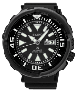 Seiko Prospex Automatic Divers 200m Black Mens Watch SRPA81K1 52mmPart of Seiko's Prospexseries, this Seiko Prospex Automatic Divers 200m Black Mens Watch SRPA81K1 52mm is a stunning addition to the Prospex lineup. In terms of the black dial, the ever present Seiko logo can be found at 12 o'clock with a day and date window found at the 3 o'clock position. Both hands and indexes on the dial are coated in LumiBrite, allowing for easy visibility at night. The sleek dial is protected by hardlex glass and a silver stainless steel case. Finally, this timepiece can be equipped by fastening astandard buckle to sit comfortably around ones wrist.This epic timepiece is perfect for those who seek the thrill of diving with a water resistance of 200 meters or 20ATM.Key Features:Automatic Movement200m Water ResistantCaliber 4R36Black Stainless Steel CaseHardlex GlassBlack Silicone StrapDay/Date Window41 Hour DurationLumibrite24 JewelsBlack DialBuckle ClaspAnalogue DisplayThe Family: ProspexThe Seiko Prospex family uses Seiko's innovative ethos to combat the watchmaker's greatest challenge, adventure sports. Whether at sea, on land or in the sky, this collection of timepieces will deliver trademark Seiko precision and reliability in even the most adverse of weather conditions.The Brand: SeikoSeiko's 135-year history has been marked by a ceaseless determination to innovate in every aspect of the watchmaker's art. By embracing this mantra, Seiko has been responsible for a string of industry-leading advances in the technology of time, such as the world's first quartz watch, the world's first TV watch, and the Seiko Kinetic, the first watch ever to generate its own electricity from the movement of the wearer. Seiko are unique in that they manufacture every aspect of every watch in-house, with this ruthless pursuit of perfection even including growing their own quartz crystals and sapphires.