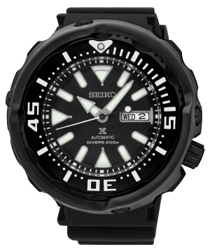 Seiko Prospex Automatic Divers 200m Black Mens Watch SRPA81K1 52mmPart of Seiko's Prospex series, this Seiko Prospex Automatic Divers 200m Black Mens Watch SRPA81K1 52mm is a stunning addition to the Prospex lineup. In terms of the black dial, the ever present Seiko logo can be found at 12 o'clock with a day and date window found at the 3 o'clock position. Both hands and indexes on the dial are coated in LumiBrite, allowing for easy visibility at night. The sleek dial is protected by hardlex glass and a silver stainless steel case. Finally, this timepiece can be equipped by fastening a standard buckle to sit comfortably around ones wrist.This epic timepiece is perfect for those who seek the thrill of diving with a water resistance of 200 meters or 20ATM.Key Features:Automatic Movement200m Water ResistantCaliber 4R36Black Stainless Steel CaseHardlex GlassBlack Silicone StrapDay/Date Window41 Hour DurationLumibrite24 JewelsBlack DialBuckle ClaspAnalogue DisplayThe Family: ProspexThe Seiko Prospex family uses Seiko's innovative ethos to combat the watchmaker's greatest challenge, adventure sports. Whether at sea, on land or in the sky, this collection of timepieces will deliver trademark Seiko precision and reliability in even the most adverse of weather conditions.The Brand: SeikoSeiko's 135-year history has been marked by a ceaseless determination to innovate in every aspect of the watchmaker's art. By embracing this mantra, Seiko has been responsible for a string of industry-leading advances in the technology of time, such as the world's first quartz watch, the world's first TV watch, and the Seiko Kinetic, the first watch ever to generate its own electricity from the movement of the wearer. Seiko are unique in that they manufacture every aspect of every watch in-house, with this ruthless pursuit of perfection even including growing their own quartz crystals and sapphires.
