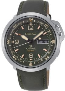 Seiko Prospex Outdoor Silver Stainless Steel Green Leather Green Dial Automatic Compass Men's Watch SRPD33K1This Seiko Prospex Outdoor Silver Stainless Steel Green Leather Green Dial Automatic Compass Men's Watch SRPD33K1 supports the adventurer every step of the way. A dark green dial is complimented by Arabic indexes as well as hands which are powered by a precise 24 jewel automatic movement. At the 3 'clock index is a simplistic day and date window. On the very outside of the dial is a full 360 compass. The compass is used by hold the watch horizontal and pointing the hour hand at the position of the sun. Then, half way between that point and the 12 o'clock index will point to the south. A silver stainless steel case and hardlex glass are used to protect the dial. The crown is further portected with a steel guard to protect from any slight slips on the side of a mountain. On the back of the case is a simple diagram which educates you on what symbols are used to display a specific message when climbing a mountain. Finally, a dark green leather stitched strap is fastened using a standard buckle.This watch has a water resistance of 200 metres, making it suitable for swimming and diving. Key Features:Prospex FamilyOutdoor StyleSilver Stainless Steel CaseProtected CrownDark Green Stitched Leather StrapDark Green DialAutomatic MovementCompassDay/Date Window200m Water ResistantStandard Buckle24 JewelsThe Family: ProspexThe Seiko Prospex family uses Seiko's innovative ethos to combat the watchmaker's greatest challenge, adventure sports. Whether at sea, on land or in the sky, this collection of timepieces will deliver trademark Seiko precision and reliability in even the most adverse of weather conditions.The Brand: SeikoSeiko's 135-year history has been marked by a ceaseless determination to innovate in every aspect of the watchmaker's art. By embracing this mantra, Seiko has been responsible for a string of industry-leading advances in the technology of time, such as the world's first quartz watch, the world's first TV watch, and the Seiko Kinetic, the first watch ever to generate its own electricity from the movement of the wearer. Seiko are unique in that they manufacture every aspect of every watch in-house, with this ruthless pursuit of perfection even including growing their own quartz crystals and sapphires.