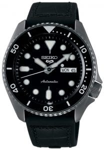 Seiko 5 Sports Gunmetal Grey Genuine Black Leather & Silicone Strap Automatic Men's WatchPart of the new 2019 Seiko 5 sports range, this Seiko 5 Sports Watch SRPD65K3 comes in a stylish style. Firstly, a black dial is complimented by silver indexes and hands powered by a strong automatic movement. This type of engine provides an accuracy rating of +45 to -35 seconds per day. The power reserve for this calibre is around the 40 hour mark, allowing you to take it off for the weekend.Furthermore, when the crown is pulled out a hack feature means that the second hand will come to a stop. The hands and indexes are coated in a LumiBrite material which allows for easy visibility at night. Additionally, the new Seiko 5 Sports logo can be found at the 12 o'clock position which resembles the Superman logo with a blend of the '5' and the 'S'. Moreover, working clockwise, at the 3 o'clock position is a simplistic white and black day and date dial which can be displayed in English or French. Additionally, the movement of automatic is labelled by the 6 o'clock position in fancy writing which brings out the stylish side of this timepiece.The dial is protected by a thick gunmetal grey stainless steel case as well as hardlex crystal glass to provide the protection it deserves. Also, a black bezel sits on-top of the case in increments of ten. The crown can be found at the 4 o'clock position with a raised shield to prevent it being knocked out of place. On the flip side is a open case back which allows you to see all the features and intricate workings of the watch. Then a black silicone & genuine leather strap can be fastened using a standard buckle.Finally, this watch has a water resistance of 100 metres, making it suitable for swimming and snorkelling.Key Features:5 Sports FamilyBlack DialGunmetal Grey Stainless Steel CaseBlack Silicone & Genuine Leather StrapAutomatic MovementCaliber 4R36Manual Winding Capacity+-45 Seconds Per DayApprox. 41 Hour DurationHardlex CrystalLumiBrite100m Water ResistantScrew Case BackSee-Through Case BackUnidirectional Rotating Bezel24 JewelsDay/Date DisplayStop Second Hand Function43mm CaseThe Family: Seiko 5 SportsThe Seiko 5 Sports has set the standard in affordable, rugged and stylish watches since 1963. Designed to be simple but serious, the Seiko 5 is so-called due to its five key attributes: automatic winding, displaying the day and date in a single window, water resistance, a recessed crown at the 4 o'clock position and a durable metal bracelet. Released in order to meet the demands of the revolutionary baby-boomer generation, the Seiko 5 collection is just as popular to this day, proof that expert craftsmanship and elegant design will never go out of fashion. The Brand: SeikoFirstly, Seiko's 135-year history has been marked by a ceaseless determination to innovate in every aspect of the watchmaker's art. By embracing this mantra, Seiko has been responsible for a string of industry-leading advances in the technology of time, such as the world's first quartz watch, the world's first TV watch, and the Seiko Kinetic, the first watch ever to generate its own electricity from the movement of the wearer. Additionally, Seiko are unique in that they manufacture every aspect of every watch in-house, with this ruthless pursuit of perfection even including growing their own quartz crystals and sapphires.