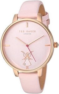 """Ted Baker Kate Fairy Pink Leather Strap Ladies' WatchTE15162004 RRP £135.00Part of the popular Kate family, this Ted Baker Kate Fairy Pink Leather Strap Ladies' Watch (TE15162004). Featuring a charming crystal-embossed fairy on the dial, the watch also has a smooth pink leather strap and a PVD rose gold-plated case.Key Features:Quartz MovementPVD Rose Gold-Plated CaseCrystal-Embossed Fairy DialSmooth Pink Leather Strap50m water ResistancyThe Brand: Ted BakerBeginning as a shirt specialist in Glasgow in 1987, Ted Baker continues to operate under its founding ethos: """"No ordinary designer label."""" This approach is evident in the brand's timepiece output, as each model has a unique sense of individuality woven into its make-up. A timeless name in British fashion, Ted Baker is sure to offer something to suit all tastes."""