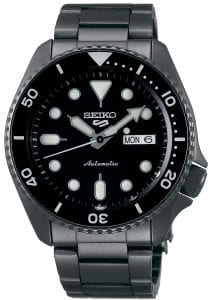 Seiko 5 Sports Black Dial Gunmetal Grey Stainless Steel Automatic Men's Watch SRPD65K1Part of the new 2019 Seiko 5 sports range, this Seiko 5 Sports Watch SRPD65K1 comes in a stylish style. Firstly, a black dial is complimented by silver indexes and hands powered by a strong automatic movement. This type of engine provides an accuracy rating of +45 to -35 seconds per day. The power reserve for this calibre is around the 40 hour mark, allowing you to take it off for the weekend.Furthermore, when the crown is pulled out a hack feature means that the second hand will come to a stop. The hands and indexes are coated in a LumiBrite material which allows for easy visibility at night. Additionally, the new Seiko 5 Sports logo can be found at the 12 o'clock position which resembles the Superman logo with a blend of the '5' and the 'S'. Moreover, working clockwise, at the 3 o'clock position is a simplistic white and black day and date dial which can be displayed in English or French. Additionally, the movement of automatic is labelled by the 6 o'clock position in fancy writing which brings out the stylish side of this timepiece.The dial is protected by a thick gunmetal grey stainless steel case as well as hardlex crystal glass to provide the protection it deserves. Also, a black bezel sits on-top of the case in increments of ten. The crown can be found at the 4 o'clock position with a raised shield to prevent it being knocked out of place. On the flip side is a open case back which allows you to see all the features and intricate workings of the watch. Then a gunmetal grey stainless steel bracelet can be fastened using a three fold clasp.Finally, this watch has a water resistance of 100 metres, making it suitable for swimming and snorkelling.Key Features:5 Sports FamilyBlack DialGunmetal Grey Stainless Steel CaseGunmetal Grey Stainless Steel BraceletAutomatic MovementCaliber 4R36Manual Winding Capacity+-45 Seconds Per DayApprox. 41 Hour DurationHardlex CrystalLumiBrite100m Water ResistantScrew Case BackSee-Through Case BackUnidirectional Rotating Bezel24 JewelsDay/Date DisplayStop Second Hand Function43mm CaseThe Family: Seiko 5 SportsThe Seiko 5 Sports has set the standard in affordable, rugged and stylish watches since 1963. Designed to be simple but serious, the Seiko 5 is so-called due to its five key attributes: automatic winding, displaying the day and date in a single window, water resistance, a recessed crown at the 4 o'clock position and a durable metal bracelet. Released in order to meet the demands of the revolutionary baby-boomer generation, the Seiko 5 collection is just as popular to this day, proof that expert craftsmanship and elegant design will never go out of fashion. The Brand: SeikoFirstly, Seiko's 135-year history has been marked by a ceaseless determination to innovate in every aspect of the watchmaker's art. By embracing this mantra, Seiko has been responsible for a string of industry-leading advances in the technology of time, such as the world's first quartz watch, the world's first TV watch, and the Seiko Kinetic, the first watch ever to generate its own electricity from the movement of the wearer. Additionally, Seiko are unique in that they manufacture every aspect of every watch in-house, with this ruthless pursuit of perfection even including growing their own quartz crystals and sapphires.