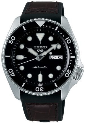 Seiko 5 Sports Black Dial Genuine Brown Leather & Black Silicone Strap Automatic Men's WatchAs part of the new 2019 Seiko 5 sports range, this Seiko 5 Sports Genuine Brown Leather & Black Silicone Strap Automatic Men's Watch comes in an affordable, stylish and rugged style. Firstly, a sleek black dial is complimented by circular silver indexes as well as silver hands powered by a strong and accurate 4R36 calibre, 23 jewel automatic movement. Secondly, this type of engine provides and accuracy rating of +45 to -35 seconds per day. Thirdly, the power reserve for this calibre is around the 40 hour mark, allowing you to take it off for the weekend. Furthermore, when the crown is pulled out a hack feature means that the second hand will come to a stop. The hands as well as the indexes are coated in a LumiBrite material which allows for easy visibility at all times of the day.Also, the dial is protected by a thick stainless steel case and hardlex crystal glass to provide the protection it deserves. Furthermore, a black bezel sits ontop of the case in increments of ten. Additionally, the crown can be found at the 4 o'clock position with a raised shield to prevent it being knocked out of place. On the flipside is a open case back which allows you to see all the features and intricate workings of the watch. Then a combination of a black silicone and brown leather strap can be fastened using a standard buckle.The Logo:The new Seiko 5 Sports logo resembles the Superman logo with a blend of the '5' and the 'S'. Working clockwise, at the 3 o'clock position is a simplistic white and black day and date dial which can be displayed in English or French. And, the movement of automatic is labelled by the 6 o'clock position in fancy writing which brings out the stylish side of this timepiece.Finally, this watch has a water resistance of 100 metres, making it suitable for swimming and snorkelling.Key Features:5 Sports FamilyBlack DialSilver Stainless Steel CaseBlack Silicone & Genuine Brown Leather StrapAutomatic MovementCaliber 4R36Manual Winding Capacity+-45 Seconds Per DayApprox. 41 Hour DurationHardlex CrystalLumiBrite100m Water ResistantScrew Case BackSee-Through Case BackUnidirectional Rotating Bezel24 JewelsDay/Date DisplayStop Second Hand Function43mm CaseThe Family: Seiko 5 SportsThe Seiko 5 Sports has set the standard in affordable, rugged and stylish watches since 1963. Designed to be simple but serious, the Seiko 5 is so-called due to its five key attributes. They are: automatic winding, displaying the day and date, water resistance, a recessed crown and a durable bracelet. Released in order to meet the demands of the revolutionary baby-boomer generation, the Seiko 5 collection is just as popular to this day, proof that expert craftsmanship and elegant design will never go out of fashion.The Brand: SeikoSeiko has been responsible for a string of industry-leading advances in the technology of time, such as the world's first quartz watch, the world's first TV watch, and the Seiko Kinetic and it is the first watch ever to generate its own electricity from the movement of the wearer. Seiko are unique in that they manufacture every aspect of every watch in-house, with this ruthless pursuit of perfection even including growing their own quartz crystals and sapphires.If you have any questions please click hereClick here to join our facebook and Instagram!