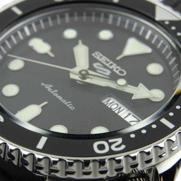 Seiko 5 Sports Black DialGenuine Brown Leather & Black Silicone Strap Automatic Men's WatchAs part of the new 2019 Seiko 5 sports range, this Seiko 5 Sports Genuine Brown Leather & Black Silicone Strap Automatic Men's Watch comes in an affordable, stylish and rugged style. Firstly, a sleek black dial is complimented by circular silver indexes as well as silver hands powered by a strong and accurate 4R36 calibre, 23 jewel automatic movement. Secondly, this type of engine provides and accuracy rating of +45 to -35 seconds per day. Thirdly, the power reserve for this calibre is around the 40 hour mark, allowing you to take it off for the weekend. Furthermore, when the crown is pulled out a hack feature means that the second hand will come to a stop. The hands as well as the indexes are coated in a LumiBrite material which allows for easy visibility at all times of the day.Also, the dial is protected by a thick stainless steel case and hardlex crystal glass to provide the protection it deserves. Furthermore, a black bezel sits ontop of the case in increments of ten. Additionally, the crown can be found at the 4 o'clock position with a raised shield to prevent it being knocked out of place. On the flipside is a open case back which allows you to see all the features and intricate workings of the watch. Then a combination of a black silicone and brown leather strap can be fastened using a standard buckle.The Logo:The new Seiko 5 Sports logo resembles the Superman logo with a blend of the '5' and the 'S'. Working clockwise, at the 3 o'clock position is a simplistic white and black day and date dial which can be displayed in English or French. And, the movement of automatic is labelled by the 6 o'clock position in fancy writing which brings out the stylish side of this timepiece.Finally, this watch has a water resistance of 100 metres, making it suitable for swimming and snorkelling.Key Features:5 Sports FamilyBlack DialSilver Stainless Steel CaseBlack Silicone & Genuine Br