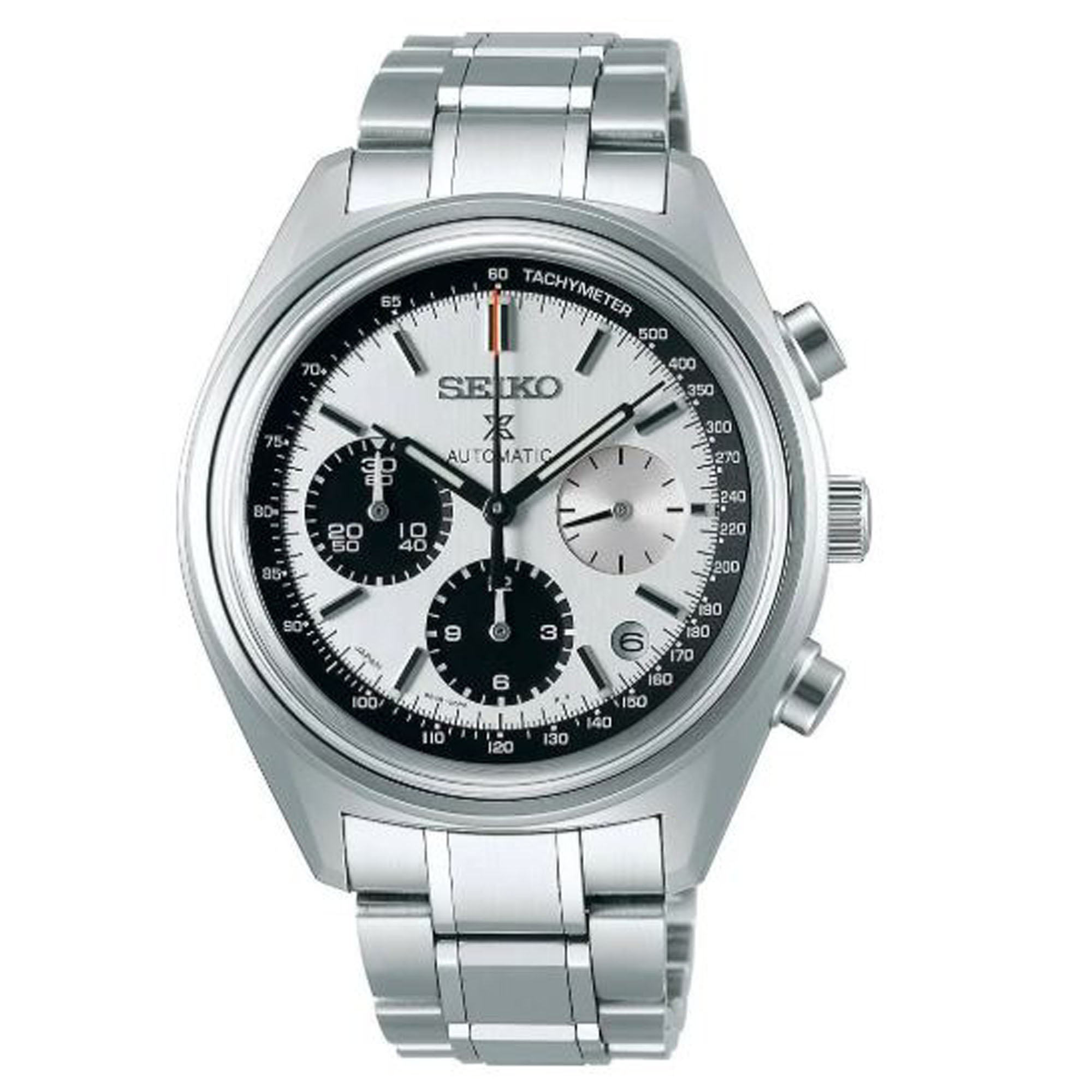 Seiko Limited Edition 50th Anniversary Prospex Automatic White Panda Dial Silver Stainless Steel Chronograph Men's Watch SRQ029J1