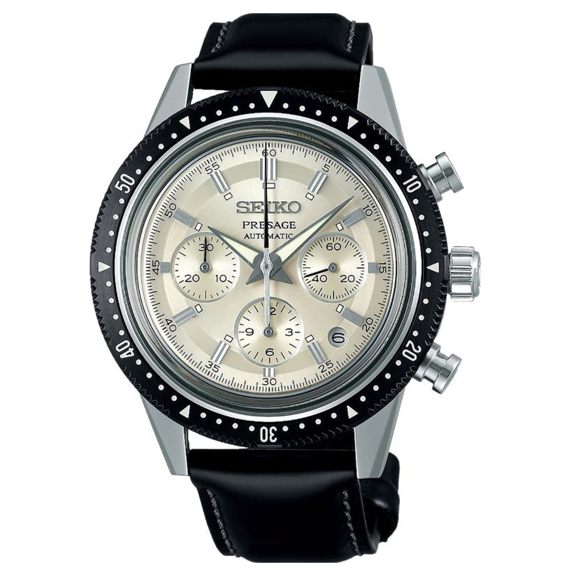 Seiko Limited Edition 55th Anniversary Presage Automatic Cream Dial Black Leather Strap Chronograph Men's Watch SRQ031J1