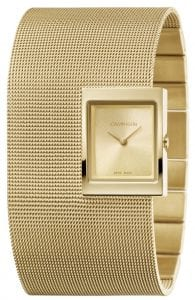 Calvin Klein Offsite Quartz Gold Dial Mesh Stainless Steel Bracelet Ladies Watch K9K23529