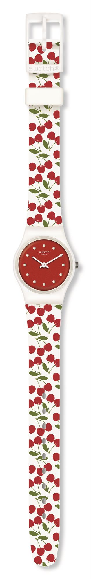 Swatch Cerise Moi Cherry White Silicone Strap Red Dial Ladies Watch LW167 25mmThis Swatch Cerise Moi Cherry White Silicone Strap Red Dial Ladies Watch LW167 25mm is a magnificient addition to the energy boost collection. The cherry red dial is complimented by white circular indexes and hands, powered by a quartz movement. Surrounding the cherry red dial is a white plastic case and plastic glass. Finally a white silicone strap jampacked with cherries and fastened by a standard buckle.This watch has a water resistance of 30 metres, making it suitable for light splashes.Key Features:White Cherry Silicone StrapRed DialStandard BuckleQuartz Movement30m Water ResistantWhite Plastic CaseThe Brand: SwatchSwatch watches are globally-renowned for their trademark combination of quality Swiss watchmaking, pioneering use of plastic cases and straps, and eye-catching designs. There is a Swatch watch to suit every age, taste and lifestyle, with this variety and sense of difference ensuring that Swatch watches remain some of the most popular and sought after currently manufactured.