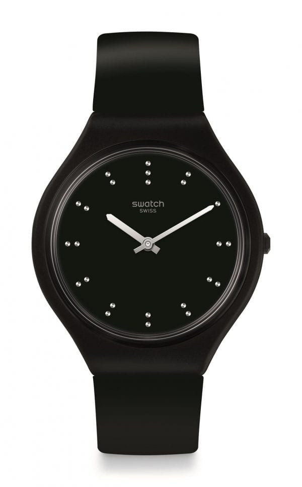 Swatch Skin Skinero Black Silicone Mens Watch SVOB106 36.8mmThis superb Swatch Skin Skinero Black Silicone Mens Watch SVOB106 36.8mm is another addition to the Skin collection. The watch has a full black colour scheme from a black silicone strap to a black dial. The hands are powered by a quartz movement and protected by plastic glass. To equip this timepiece a standard buckle is fastened to sit comfortably around ones wrist. This watch has a water resistance of 30 metres, making it suitable for light splashes.  Key Features:Black Silicone StrapQuartz MovementBlack Dial30m Water ResistantStandard BucklePlastic CaseThe Brand: SwatchSwatch watches are globally-renowned for their trademark combination of quality Swiss watchmaking, pioneering use of plastic cases and straps, and eye-catching designs. There is a Swatch watch to suit every age, taste and lifestyle, with this variety and sense of difference ensuring that Swatch watches remain some of the most popular and sought after currently manufactured.