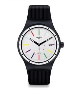 Swatch Sistem Col-Ora Quartz White Dial Black Silicone Strap Men's Watch SUTB408