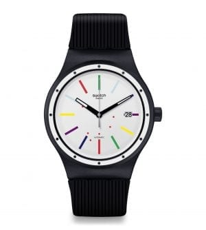 Swatch Sistem Col-Ora Quartz White Dial Black Silicone Strap Men's Watch SUTB408