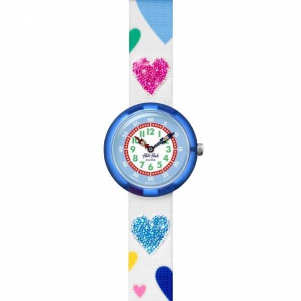Flik Flak Love My Heart Quartz White Dial Heart Textile Strap Girls Watch FBNP116