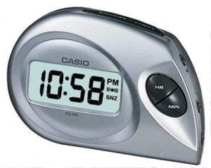 Casio Bedside Quartz Digital LCD Dial Silver Plastic Alarm Clock DQ-583-8EF