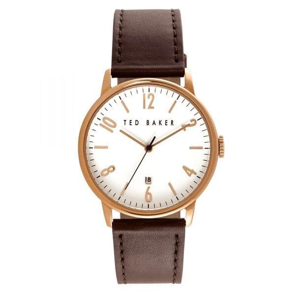 Ted Baker Daniel Quartz White Dial Brown Leather Strap Men's Watch TE10030651