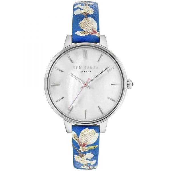 Ted Baker Kate Quartz Silver Dial Blue Floral Leather Strap Laides Watch TE50005019