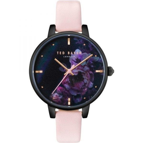 Ted Baker Kate Quartz Black Floral Dial Pink Leather Strap Ladies Watch TE50005020