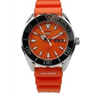 Seiko 5 Sports Customised Automatic Orange Dial Orange Silicone Strap Men's Watch SRPC55K2