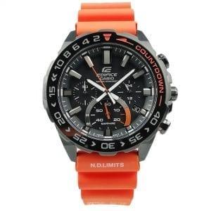 Casio Edifice Customised Solar Black Dial Orange Silicone Strap Chronograph Men's Watch EFS-S550BL-1AVUEF1