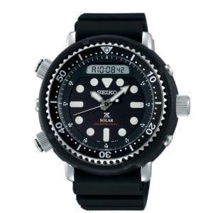 Seiko Prospex 'Arnie' Predator Solar Black Dial Silicone Strap Diver's Men's Watch SNJ025P1