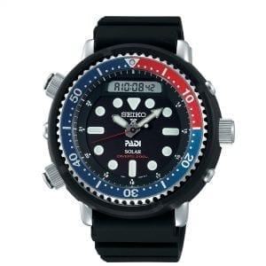 Seiko Prospex 'Arnie' Predator 'Pepsi' 'Tuna' Solar Black Dial Silicone Strap Diver's Men's Watch SNJ027P1