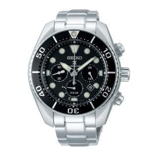 Seiko Prospex 'Sumo' Solar Black Dial Silver Stainless Steel Chronograph Diver's Men's Watch SSC757J1