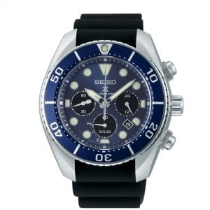 Seiko Prospex 'Sumo' Solar Blue Dial Black Silicone Strap Chronograph Diver's Men's Watch SSC759J1