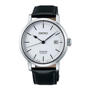 Seiko Presage Riki Watanabe Inspired Automatic White Enamel Dial Black Leather Strap Men's Watch SPB113J1