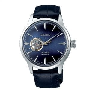 Seiko Presage Cocktail Time Blue Moon Automatic Open Heart Leather Strap Men's Watch SSA405J1