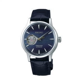 Seiko Presage Cocktail Time Blue Moon Automatic Open Heart Leather Strap Ladies Watch SSA785J1