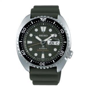 Seiko Prospex 'King Turtle' Automatic Green Dial Silver Silicone Strap Diver's Men's Watch SRPE05K1