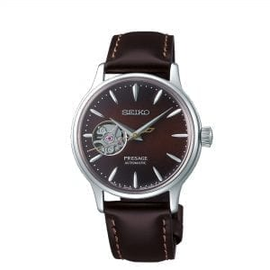 Seiko Presage Cocktail Time Stinger Automatic Open Heart Brown Leather Strap Ladies Watch SSA783J1