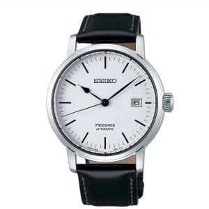 Seiko Presage Riki Watanabe Inspired Automatic White Enamel Dial Black Leather Strap Men's Watch SPB113J1