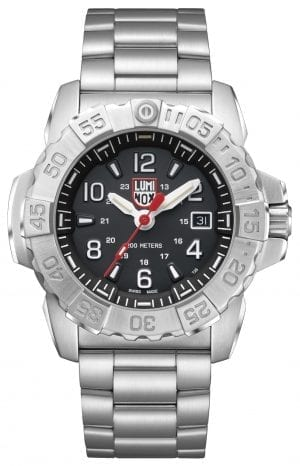 "Luminox Navy SEAL Steel 3250 Series Stainless Steel Men's Watch XS.3252Expanding on the success of the company's hugely successful Navy SEAL watches, Luminox now introduces the Navy SEAL Steel 3250 Series. The series features the iconic Luminox ""turtle"" case shape combined with the brand's trademark commitment to providing watches that can cope no matter the circumstances, and as such features stunning self illumination technology and 200 metres of water resistance. SKUXS.3252FamilyNavy SEAL SteelMovementSwiss QuartzDial ColourBlackCase Size45mmCase MaterialBrushed stainless steelCase BackScrew in casebackCrownScrew in crownGlassSapphire crystal anti-reflective coatingBezelUni-directional rotatingStrap TypeBraceletStrap MaterialBrushed stainless steelBezel LLTOrangeLLT on Dial 12HOrangeLLT on Dial 1-1 1HIce blueLLT on Hour HandOrangeLLT on Minute HandOrangeLLT on Second HandIce blueIlluminationNight Vision Tubes (25 Years)Guarantee2-Year Manufacturer'sWater Resistency200m"