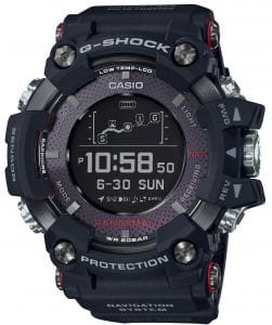 "Casio G-Shock Master of G Rangeman Men's Alarm Chronograph Watch GPR-B1000-1ERThis Casio G-Shock Master of G Rangeman Men's Alarm Chronograph Watch GPR-B1000-1ER truly pushes the limits of what a timepiece can offer. It has a powerful body that is shock resistant, dust resistant, mud resistant and water resistant up to 200 metres. Most notably it is the first G-Shock watch which offers a GPS navigation feature. It has the ability to track your routes and store waypoint information in the memory, making this the perfect tool for any outdoors lover.The battery of the model lasts around 33 hours when fully charged, but when the battery gets to a point when the GPS can no longer be used, the wearer can temporarily restore the battery by exposing the watch to high-intensity light for solar charging. The watch can also be connected with the G-Shock connected app.Key Features:Solar and Wireless ChargingBuilt in GPS Navigation SystemBacktrack Function4 Daily AlarmsAltimeterBarometerThermometerBluetoothCarbon Fibre Resin BandCeramic Case BackCountdown TimerDigital CompassGPS Antenna BezelPoint MemorySapphire Glass200m Water Resistant The Family: Master of GCasio's Master of G family has always been about showcasing the very latest technology Casio has to offer long before it is included in the main G-Shock and Pro Trek lines. No matter what the conditions or the terrain; the wearer can rely on the Master of G series' innovative features to deliver impressive toughness and unbeatable reliability. The family is designed to be ""watches for tough professionals"".The Brand: CasioCasio was established in 1946 by Japanese engineer Tadao Kashio. The company entered the watch market in 1974 with the release of the Casiotron, which was the world's first Auto Calendar watch. Only eleven years after entering this field Casio reshaped global thought about the functions a watch should perform, this began with the release of the legendary G-Shock family.Innovation and world firsts have defined the company's history ever since. The most striking of these being the release of the first ever touch screen watch in 1991, 24 years before the Apple Watch. Also they released the first ever wrist camera watch in 2000. Casio have been producing smartwatches decades before the term ever came into circulation. They have firmly cemented its reputation as a famously reliable and precise name in the watch world.If you have any questions please click hereClick here to join our facebookand Instagram!"
