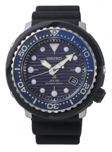 Seiko Special Edition Prospex Save The Ocean Turtle Tuna PADI Solar Mens Watch SNE518P1 47mmPart of Seiko's Save the Ocean series, this SeikoProspex Save The Ocean Solar Chronograph Blue Mens Watch SSC701P1 43.5mm is a stunning addition to the Prospex lineup. As is the case with the entire Save the Ocean range, every watch sold results in a donation to the Fabian Costeau Ocean Learning Centre, an organisation founded to preserve and protect the world's oceans. This watch also has the marine nickname of tuna. This refers to the watch case resembling that of a tuna can with its jagged edges.The dial has a blue pattern complimented by white indexes and markers. Both the indexes and markers have luminous coating, allowing for easy visibility at night and at the depths of the ocean. Beneath the 12 o'clock index is the ever present Seiko logo. Replacing the 4 o'clock position is a simplistic date window. Both the date window and hands are powered by a solar movement, charging up a quartz battery. The dial is then protected by a thick black stainless steel and resin case as well as tough hardlex glass. Finally a black resin strap is fastened using a standard buckle.This epic timepiece is perfect for those who seek the thrill of diving with a water resistance of 200 meters or 20ATM.Key Features:Special EditionProspex FamilySave The OceanTuna CaseSolar MovementLuminous CoatingScrew Down CrownUni Directional BezelBlack Silicone StrapDate WindowHardlex Crystal Glass200m Water ResistantStandard BuckleThe Family: ProspexThe Seiko Prospex family uses Seiko's innovative ethos to combat the watchmaker's greatest challenge, adventure sports. Whether at sea, on land or in the sky, this collection of timepieces will deliver trademark Seiko precision and reliability in even the most adverse of weather conditions.The Brand: SeikoSeiko's 135-year history has been marked by a ceaseless determination to innovate in every aspect of the watchmaker's art. By embracing this mantra, Seiko has b