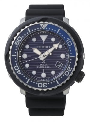 Seiko Special Edition Prospex Save The Ocean Turtle Tuna PADI Solar Mens Watch SNE518P1 47mmPart of Seiko's Save the Ocean series, this Seiko Prospex Save The Ocean Solar Chronograph Blue Mens Watch SSC701P1 43.5mm is a stunning addition to the Prospex lineup. As is the case with the entire Save the Ocean range, every watch sold results in a donation to the Fabian Costeau Ocean Learning Centre, an organisation founded to preserve and protect the world's oceans. This watch also has the marine nickname of tuna. This refers to the watch case resembling that of a tuna can with its jagged edges.The dial has a blue pattern complimented by white indexes and markers. Both the indexes and markers have luminous coating, allowing for easy visibility at night and at the depths of the ocean. Beneath the 12 o'clock index is the ever present Seiko logo. Replacing the 4 o'clock position is a simplistic date window. Both the date window and hands are powered by a solar movement, charging up a quartz battery. The dial is then protected by a thick black stainless steel and resin case as well as tough hardlex glass. Finally a black resin strap is fastened using a standard buckle.This epic timepiece is perfect for those who seek the thrill of diving with a water resistance of 200 meters or 20ATM.Key Features:Special EditionProspex FamilySave The OceanTuna CaseSolar MovementLuminous CoatingScrew Down CrownUni Directional BezelBlack Silicone StrapDate WindowHardlex Crystal Glass200m Water ResistantStandard BuckleThe Family: ProspexThe Seiko Prospex family uses Seiko's innovative ethos to combat the watchmaker's greatest challenge, adventure sports. Whether at sea, on land or in the sky, this collection of timepieces will deliver trademark Seiko precision and reliability in even the most adverse of weather conditions. The Brand: SeikoSeiko's 135-year history has been marked by a ceaseless determination to innovate in every aspect of the watchmaker's art. By embracing this mantra, Seiko has been responsible for a string of industry-leading advances in the technology of time, such as the world's first quartz watch, the world's first TV watch, and the Seiko Kinetic, the first watch ever to generate its own electricity from the movement of the wearer. Seiko are unique in that they manufacture every aspect of every watch in-house, with this ruthless pursuit of perfection even including growing their own quartz crystals and sapphires.