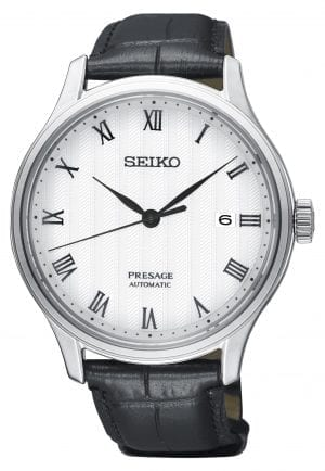 Seiko Presage Zen Garden Automatic White Dial Black Leather Strap Mens Watch SRPC83J1 42mmThisSeiko Presage Zen Garden Automatic White Dial Black Leather Strap Mens Watch SRPC83J1 42mm is inspired by beautiful Japanese gardens, introducing dials in calming new colours with a delicate pressed pattern. The pattern on the white dial resembles that of raked gravel and ripples in the water. Around the outside of the dial are Roman numeral indexes with a simplistic date window adjacent to the 3 o'clock index. The grey hands are powered by an automatic 4R35 23 jewel movement. The dial is protected by a silver stainless steel case and sapphire crystal glass. Finally, a black leather strap is fastened using a push button clasp.This watch has a water resistance of 30 metres, making it suitable for light splashes.For all you Seikoenthusiasts, this premium timepiece has been made and produced in Japan, indicated by the suffix 'J'. Seiko watches made in Japan are notoriously hard to obtain outside of Japan due to the highest quality of craftmanship and astonishing features that come in each individual timepiece. We have a range of Japanese watches here at Watchnation but in limited quantities, so if you are looking to add to your collection then this is the perfect place for you.Key Features:Presage FamilyZen Garden StyleAutomatic MovementWhite DialBlack Leather Strap4R35 Calibre Engine+-45 Seconds Per DaySilver Stainless Steel CaseBlack Leather StrapSapphire Crystal GlassPush Button Deployment30m Water Resistant23 JewelsDate DisplayRoman Numeral IndexesThe Brand: SeikoSeiko's 135-year history has been marked by a ceaseless determination to innovate in every aspect of the watchmaker's art. By embracing this mantra, Seiko has been responsible for a string of industry-leading advances in the technology of time, such as the world's first quartz watch, the world's first TV watch, and the Seiko Kinetic, the first watch ever to generate its own electricity from the movement of the wea