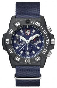 """Luminox Navy SEAL Chronograph 3580 Series Men's Watch XS.3583.NDThe US Navy SEALs are the world's premier combat force, with Luminox's Navy SEAL Chronograph 3580 Series reflecting this in every timepiece. Perfectly embodying the SEAL mantra of """"the only easy day was yesterday"""", this Luminox Navy SEAL Chronograph 3580 Series Men's Watch (XS.3583.ND) features a highly robust carbon compound case, a Swiss quartz chronograph movement, and is water resistant to 200m. This means it can stand up to any challenge, whether it's at the gym, on patrol, or everyday use.SKUXS.3583.NDFamilyNavy SEAL ChronographMovementSwiss QuartzDial ColourBlueCase Size45mmCase MaterialCARBONOXCase BackScrewon casebackCrownDouble-security gasketGlassHardened mineral crystalBezelUni-directional rotatingStrap TypeCanvas strapStrap MaterialBlue webbingBezel LLTOrangeLLT on Dial 12HOrangeLLT on Dial 1-1 1HGreenLLT on Hour HandGreenLLT on Minute HandOrangeLLT on Second HandGreenIlluminationNight Vision Tubes (25 Years)Guarantee2-Year Manufacturer'sWater Resistency200m"""