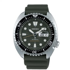Seiko Prospex 'King Turtle' Automatic Green Dial Silver Silicone Strap Diver's Men's Watch SRPE05K1
