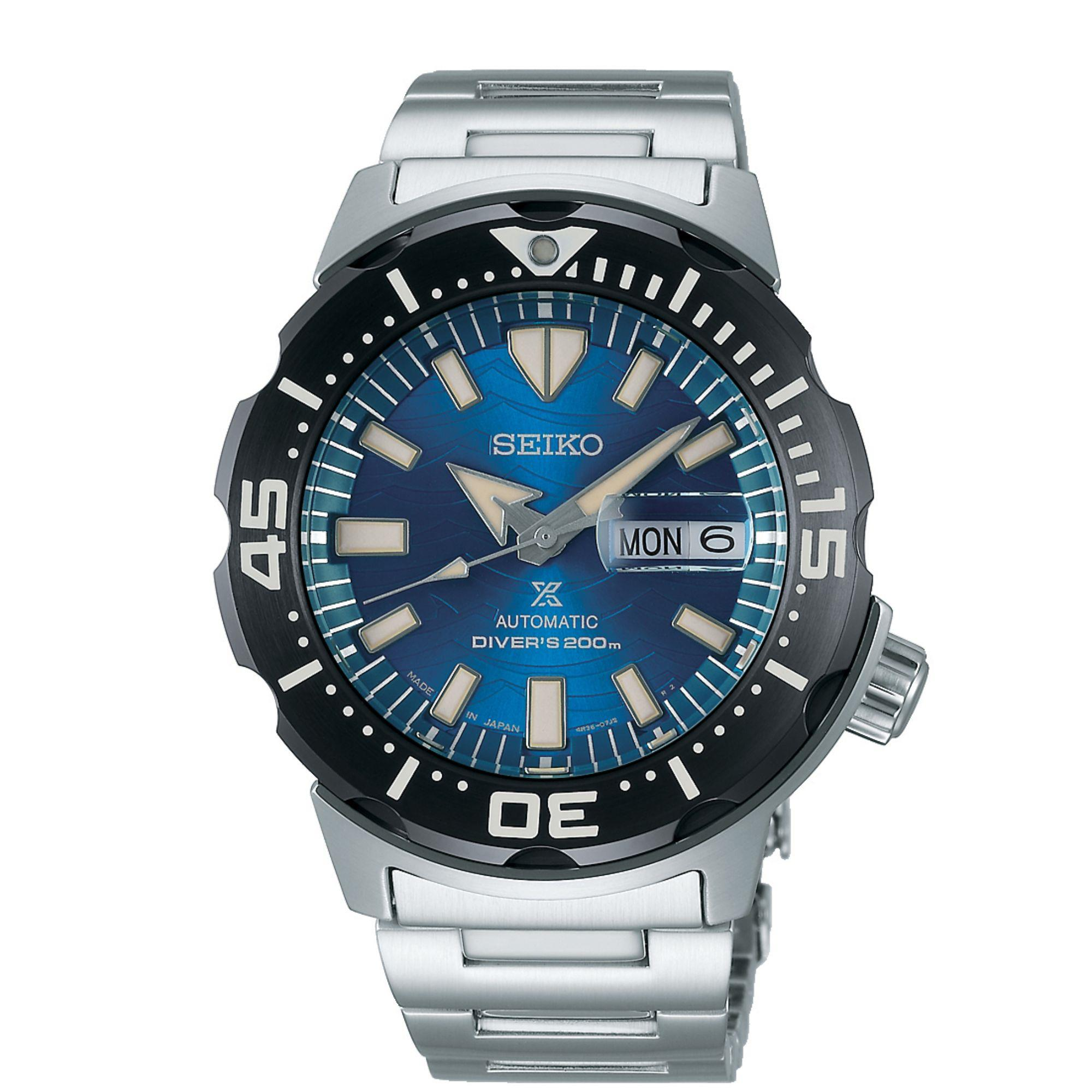 Seiko Prospex Save The Ocean 'Monster' Blue Dial Silver Stainless Steel Diver's Men's Watch SRPE09K1