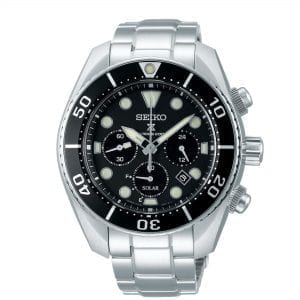 Seiko Prospex 'Sumo' Solar Black Dial Silver Stainless Steel Chronograph Diver's Men's Watch SSC757J1