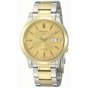 Seiko 5 Automatic Gold Dial Two Tone Silver Gold Stainless Steel Men's Watch SNK792K1