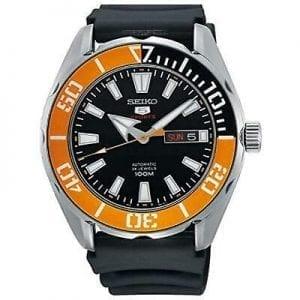Seiko 5 Sports Black Silicone Strap Orange Bezel Automatic Men's Watch SRPC59K