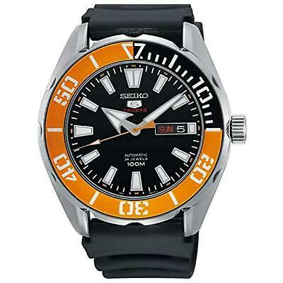 Seiko 5 Sports Black Silicone Strap Orange Bezel Automatic Men's Watch SRPC59K