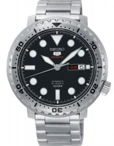 Seiko 5 Sports Silver Stainless Steel Black Dial Automatic Men's Watch SRPC61K